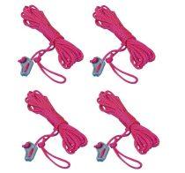 Sátorkötél 4 db-os szett feszítővel ø 2,5 mm pink, 4 m