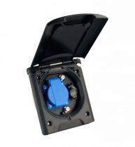 Külső csatlakozóaljzat mágneszáras fedéllel 230V/12V/TV, fekete