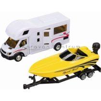 Modell lakóautó csónakszállító utánfutóval