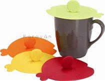 Fischdeckel többfunkciós szilikon pohártető, 4 db, színes