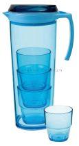 Gimex kancsó 4 pohárral, kék