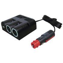 Procar 12 V-os szivargyújtó elosztó, 2+USB