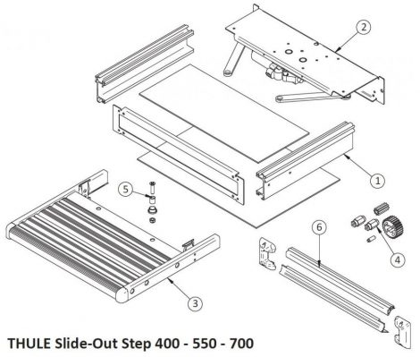 Thule Slide-Out Step 12V 400x420 mm keret